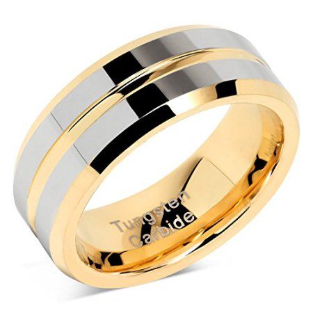 Tungsten Rings For Mens Wedding Bands Gold Silver Two Tone Grooved Center Line Size 8 15 Weddin Mens Gold Wedding Band Mens Wedding Bands Silver Wedding Bands