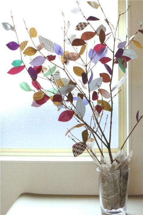 Decoración de otoño - Hojas de washi Tape y ramas