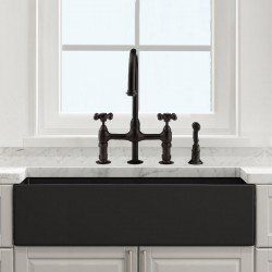 Randolph Morris 33 Inch Plain Front Fireclay Reversible Apron Farmhouse Sink Matte Dark Gray With Images Farmhouse Apron Sink Farmhouse Sink Farm Sink