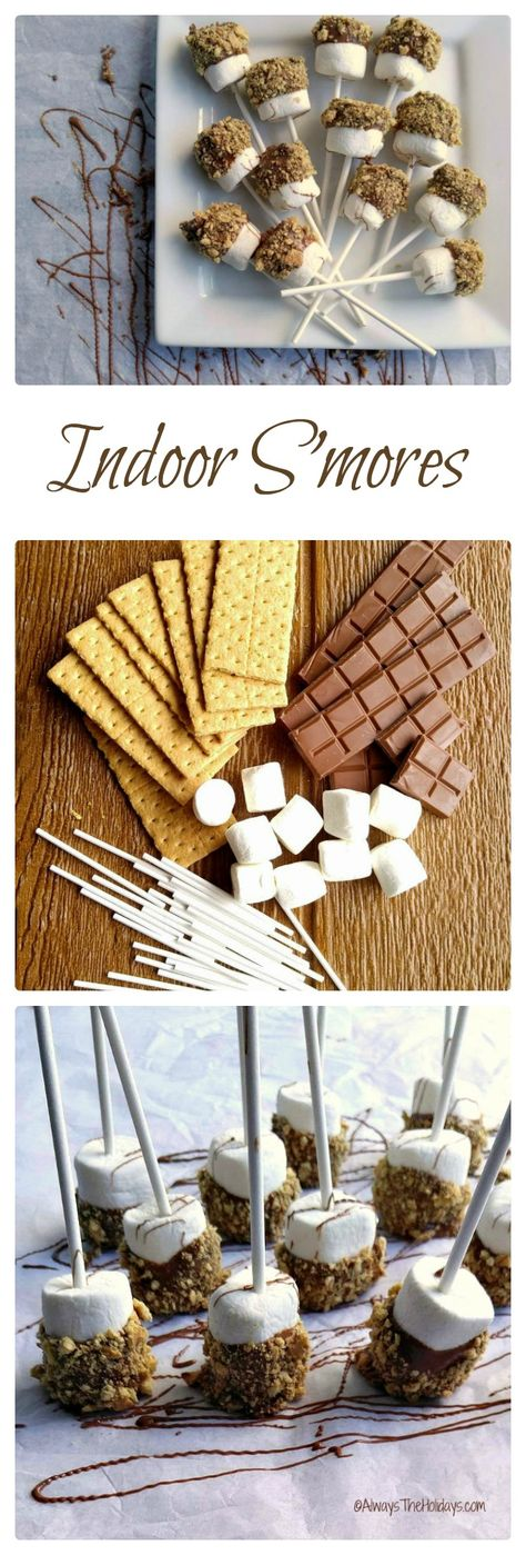 These indoor s'mores are the perfect rainy day snack for those days when you can't go camping.  alwaystheholidays...