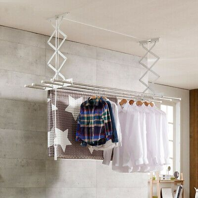 Ceiling Hanging Dryer White Airer Clothes Laundry Drying Space