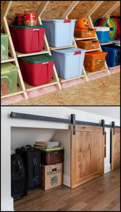 Attic Storage Ideas Diy 58 Ideas Diy Storage In 2019 Attic Renovation Attic Storage Attic Bedrooms