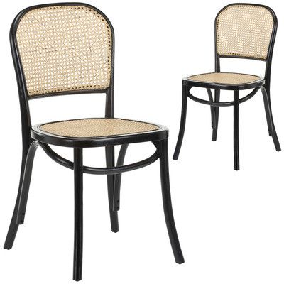 Luca Beech Rattan Dining Chair Set Of 2 Rattan Dining Chairs