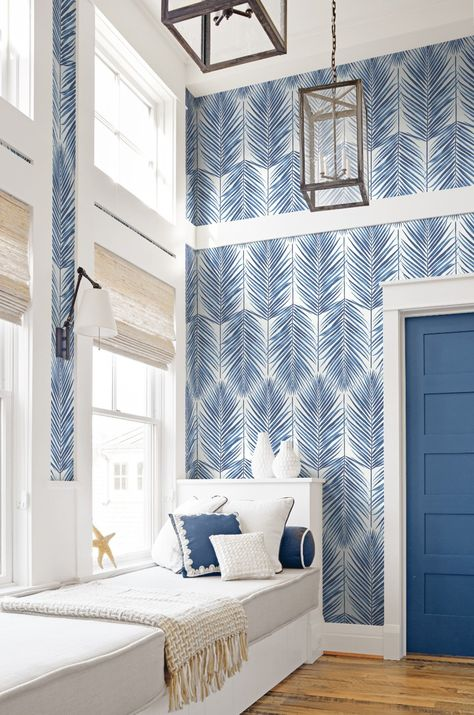 Paradise Wallpaper in Coastal Blue from the Beach House Collection - Home Professional Decoration Coastal Bedrooms, Coastal Living Rooms, My Living Room, Beach Living Room, Coastal Master Bedroom, Beach Room, Bedroom Sets, Contemporary Beach House, Contemporary Wallpaper
