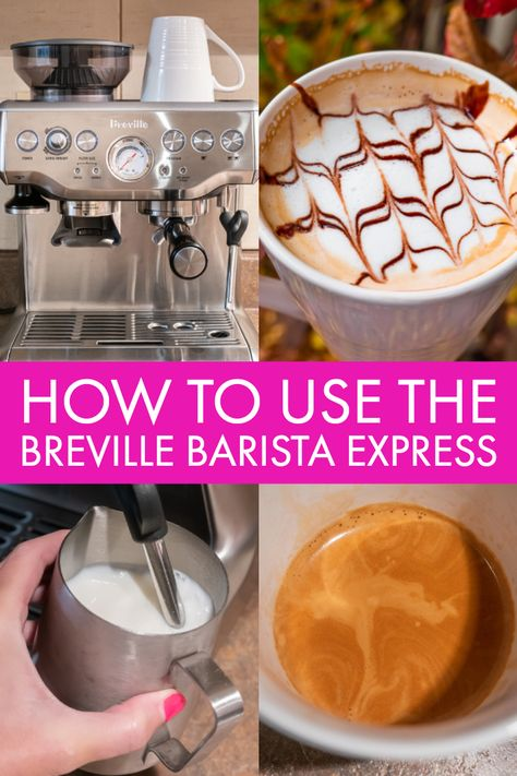 How to make the PERFECT Latte or Cappuccino with the Breville Barista Express! A step-by-step tutorial that will guide you through making your first espresso! Cappuccino Maker, Cappuccino Machine, Coffee Machine, Barista Machine, Latte Machine, Home Espresso Machine, Café Espresso, Espresso Drinks, Espresso How To Make