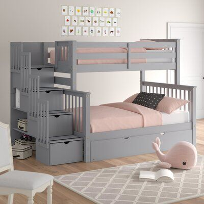 Harriet Bee Tena Bunk Bed With Storage And Trundle Wayfair Bed For Girls Room Bunk Bed With Trundle Bunk Beds With Storage
