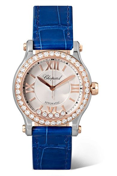 fb7ffc1ab72ff Chopard | Happy Sport 30mm rose gold, stainless steel, alligator and diamond  watch | NET-A-PORTER.COM