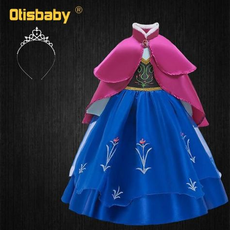 Summer Turtleneck Dresses for Girls Fairy Frock Anna Dress Up with Rose Cape