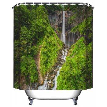Alpine Waterfall Bathroom Polyester Printed Waterproof Shower
