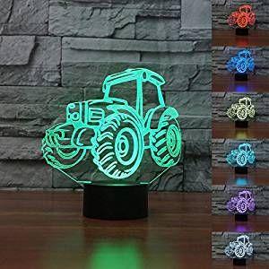 Traktor Nachtlicht Fur Das Bauernhof Kinderzimmer Coole 3d Illusion Kinderlampe Traktor Werbung Nachtlicht Kinder Lampen Geschenke Fur Jungs