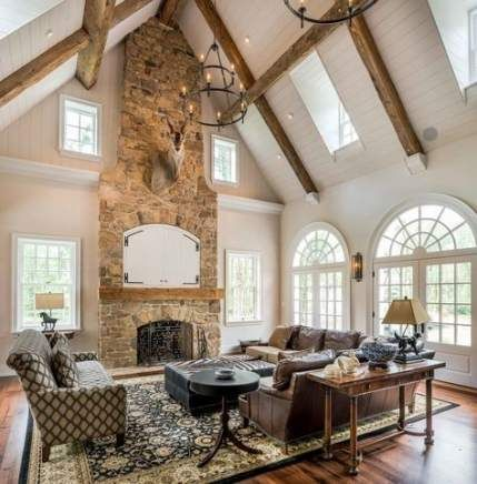 68 Trendy Farmhouse Style Livingroom Decor Vaulted Ceilings Cathedral Ceiling Living Room Farm House Living Room Vaulted Ceiling Living Room