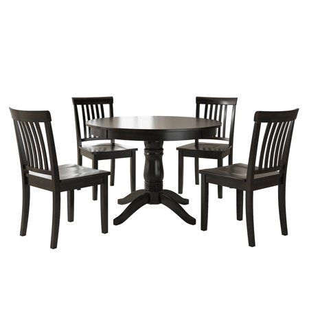 Lexington 5 Piece Wood Dining Set Round Table And 4 Mission Back Chairs Black Walmart Com Round Dining Table Sets Round Dining Table Dining Room Table Set