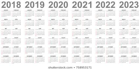 Simple Editable Vector Calendars For Year 2018 2019 2020 2021 2022
