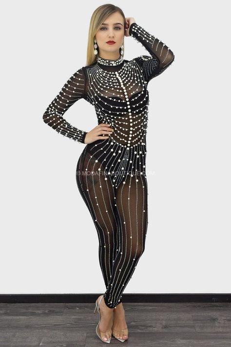 Nita Rhinestone Pearl Embellished Long Sleeve Jumpsuit