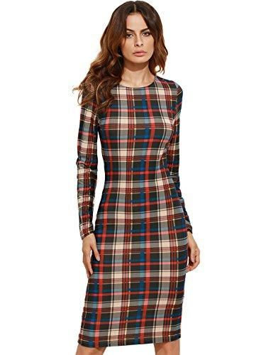 amazon Elegant Long Sleeve plaid dress