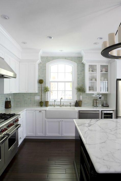 Kitchen Backsplash Tile How High To Go White Kitchen Cabinets