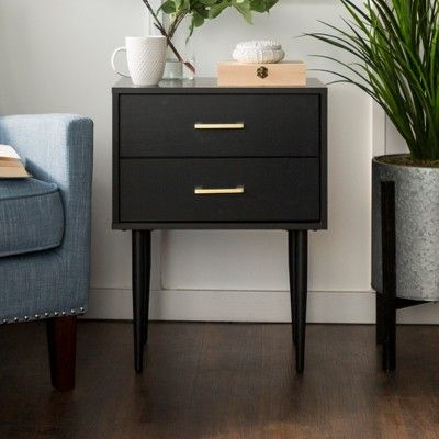 20 Olivia Modern Side Table With Retro Legs Black Saracina Home Modern Side Table Side Tables Bedroom Nightstand Decor