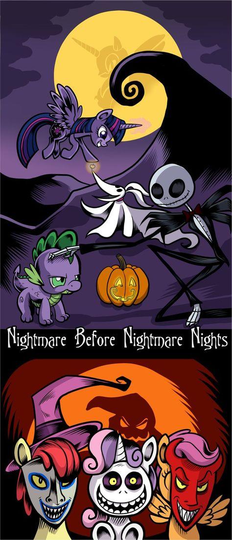 It Should Say Nightmare Before Hearth S Warming Nightmare Night Pony Night Rainbow