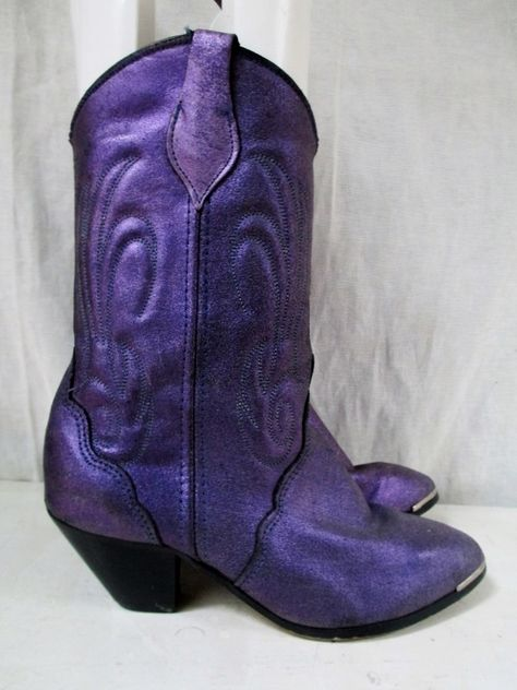Womens VAMP Western Cowboy Buckaroo BOOTS Shoes PURPLE METALLIC 6.5