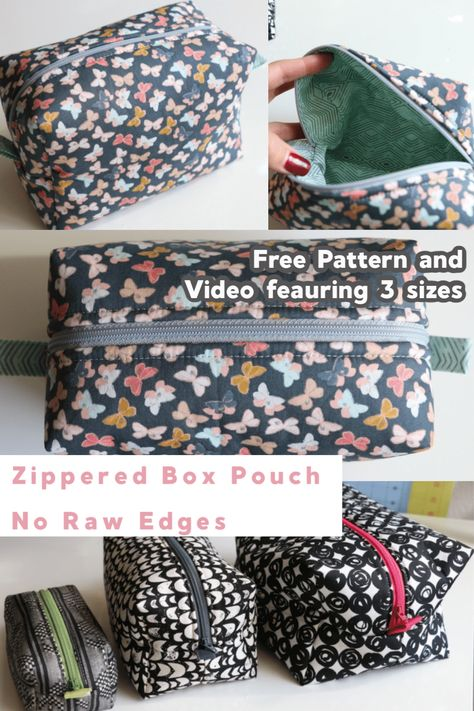 New Photos Sewing projects purse Concepts Zippered Box Pouch Easy Sewing Project - No Raw Edges - Melanie Ham Bag Pattern Free, Pouch Pattern, Sewing Patterns Free, Free Sewing, Bag Patterns To Sew, Coat Patterns, Baby Sewing, Diy Sewing Projects, Sewing Projects For Beginners