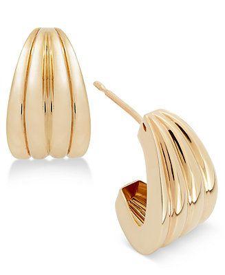 f92fcf217588c Italian Gold Ridged Huggie J-Hoop Earrings in 14k Gold Jewelry ...