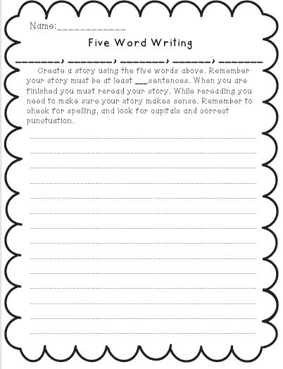 Miss Third Grade: 5 Word Writings-- Give students 5 words that must be included in their writing
