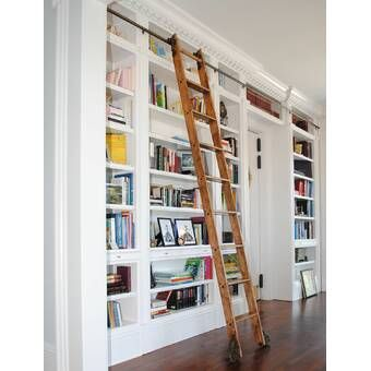 Maple 10 Rolling Ladder Home Library Rooms Floor To Ceiling Bookshelves Home Library Design