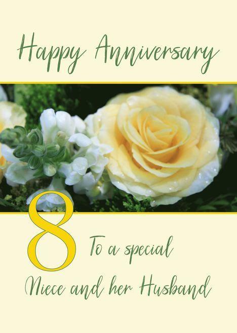 Niece And Husband 8th Wedding Anniversary Yellow Rose Card Ad Ad Wedding 8t Wedding Anniversary Cards 8th Wedding Anniversary 20 Wedding Anniversary