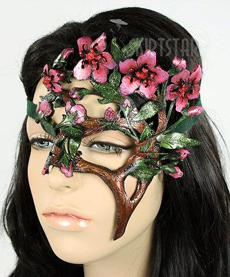 Made in USA Leather Mask Masquerade Cherry Blossom Costume Faire Nymph Fairy New | eBay