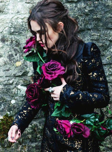 Keira Knightley for Harper's Bazaar UK    purple and magenta roses!