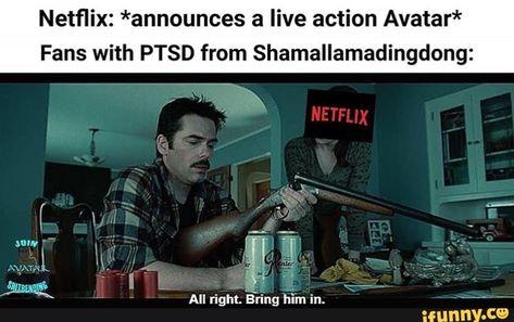 Netflix: *announces a live action Avatar* Fans with PTSD from Shamallamadingdong: - iFunny :) Avatar The Last Airbender Funny, Avatar Funny, Avatar Airbender, Avatar Aang, Atla Memes, Avatar Series, Iroh, Team Avatar, Zuko