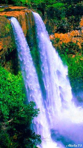 Flowing Waterfall nature waterfall animated cliff river beauty gif