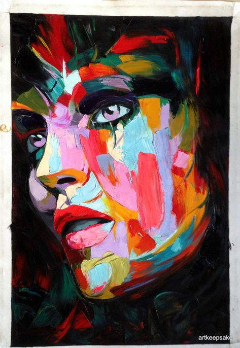 """Abstract Portrait Woman's Face Palette Knife Textured Oil Painting 24x36"""" Handpainted Francoise Nielly F1"""