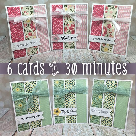 Need some quick cards? Here are instructions and supply lists for a set of 6 cards that you can make in under 30 minutes. Cricut Cards, Stampin Up Cards, Cool Cards, Quick Cards, Hand Stamped Cards, Card Patterns, Scrapbook Cards, Scrapbooking, Card Sketches