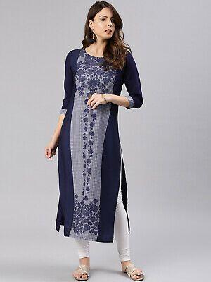 Indian Ethnic Women/'s Designer Kurti Kurta Long Rayon Solid Printed Tunic Top Dress Gift For Her