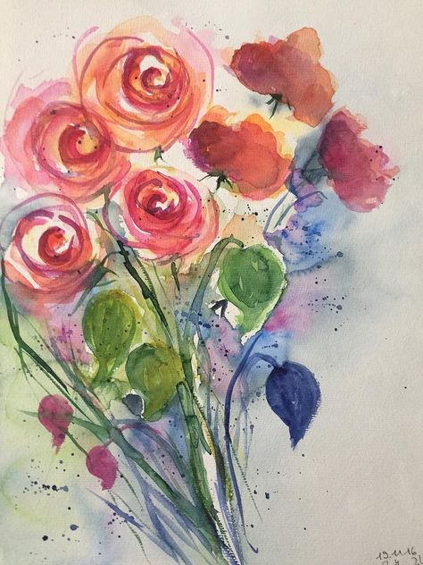 Aquarelle Originale Art Aquarelle Bouquet Roses Fleurs Aquarelle