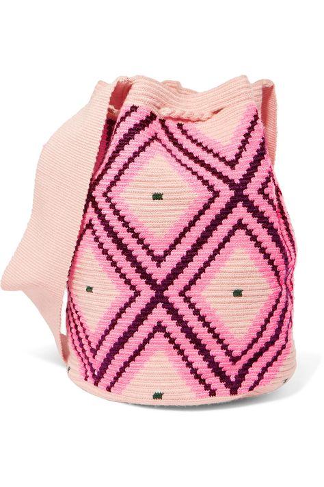 cubo tejido com Net de adornada Sophie Pompom A Porter AndersonLila bolsa pqwHUX