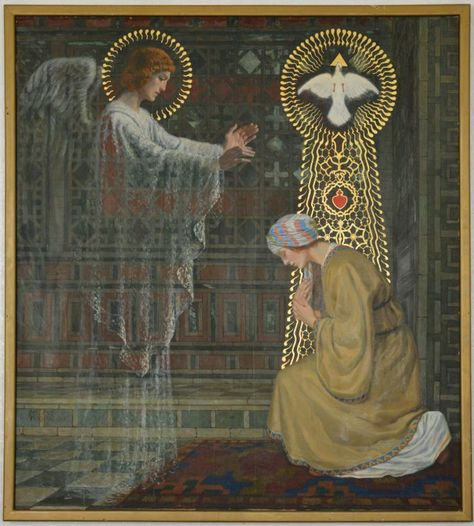 The Annunciation of Our Lord and the Incarnation of Jesus Christ; Blessed Mother Mary, Blessed Virgin Mary, Catholic Art, Religious Art, 4 Image, Images Of Mary, Saint Esprit, Archangel Gabriel, Queen Of Heaven