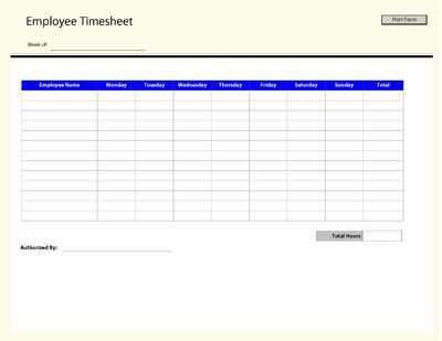 Free Printable Employee Time Sheet That Can Be Used To Track Employee Work Hours Throughout The Week Timesheet Template Templates Printable Free Templates