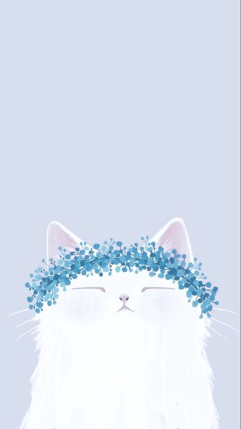 Sleepy pearly cat with flower crown wallpaper version 3
