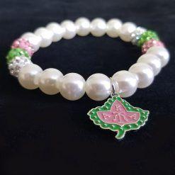 For Alpha Kappa Alpha AKA Ivy leaf Pearl Charm