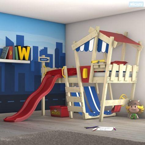 Hochbett Mit Rutsche Wickey Crazy Hutty Kinderbett Blau Rot