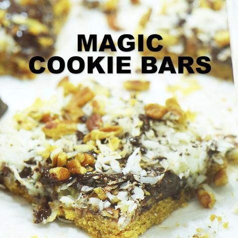 Magic Cookie Bars - This homemade dessert bar recipe from Platter Talk also goes by Coconut Dream Bars and Hello Dolly Bars but you'll just call them delicious. This easy chocolate recipe is perfect for Christmas or any special occasion, from family reunions, church socials, school functions and any event where tasty food is involved! #dessertrecipes #EagleBrand #chocolate #easyrecipes #ChristmasCookies