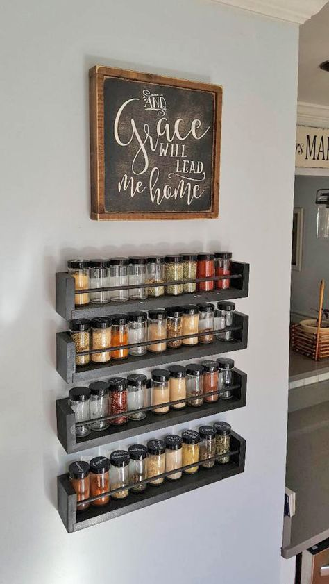 Kitchen Wall Spice Rack Organization, wooden spice rack, glass spice jars This space saving organized wooden spice rack saves counter space. Spice jars with chalkboard labels for easy identification. Wall Spice Rack, Wooden Spice Rack, Kitchen Spice Racks, Spice Shelf, Wall Mounted Spice Rack, Diy Spice Rack, Spice Rack For Counter, Spice Rack In Pantry, Hanging Spice Rack