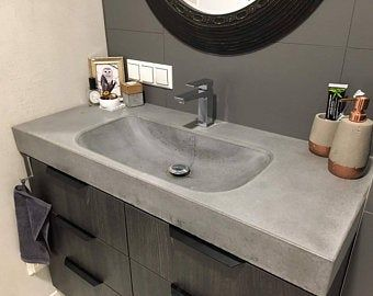 Concrete Vanity With Zero Depth Basin With Slot Drain Etsy In 2020 Concrete Sink Sink Bathrooms Remodel