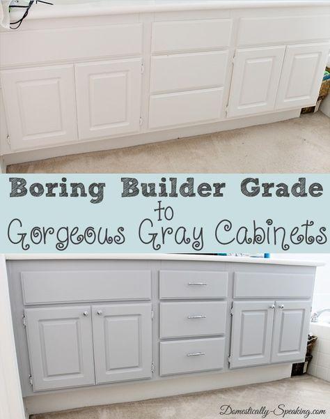 Upgrade Your Boring Builder Grade Bathroom Cabinets Bathroom Cabinets Diy Grey Cabinets Diy Cabinets