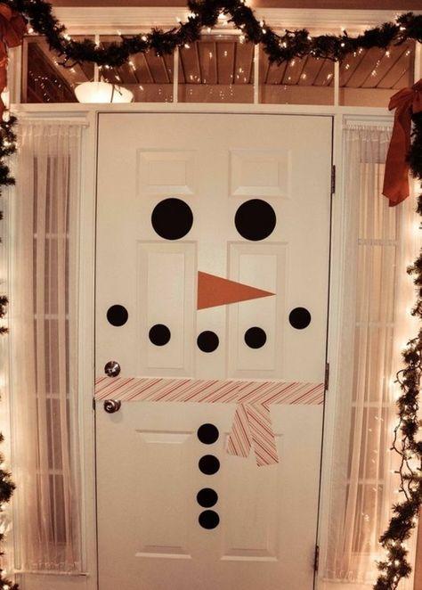 Children craft ideas Christmas decoration snowman door.