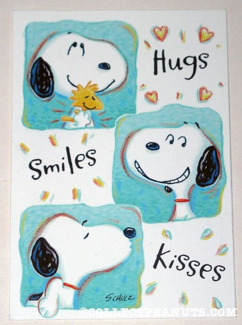 Peanuts General Greeting Cards | CollectPeanuts.com - Snoopy & Woodstock Hugs, Smiles, Kisses Greeting Card