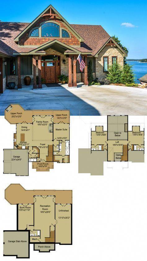 Lake House Plan Floor Plan River S Reach Casasrusticas Cottage House Plans Mountain House Plans Basement House Plans