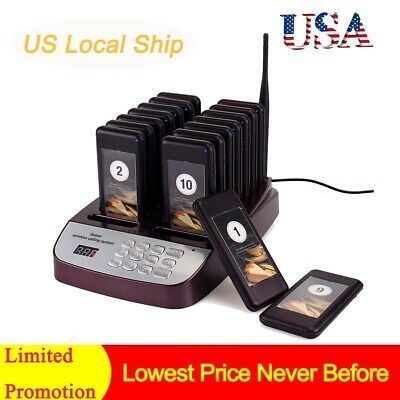 999CH Restaurant Wireless Call Paging Queuing System 1*Keypad+10*Pager 433MHz